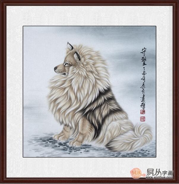 工笔画名家新品佳作 王建辉斗方工笔动物画《守望》作品来源:易从网