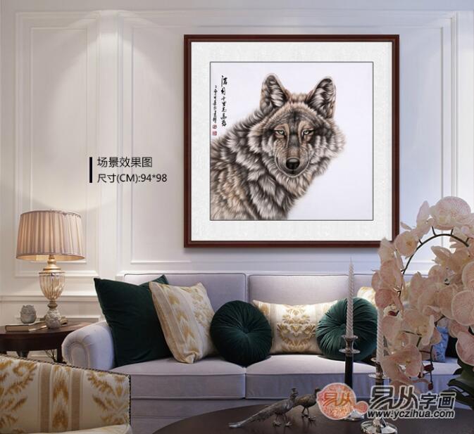 王建辉老师的这幅工笔斗方动物画作品《皓月千里志高存》,画中这只